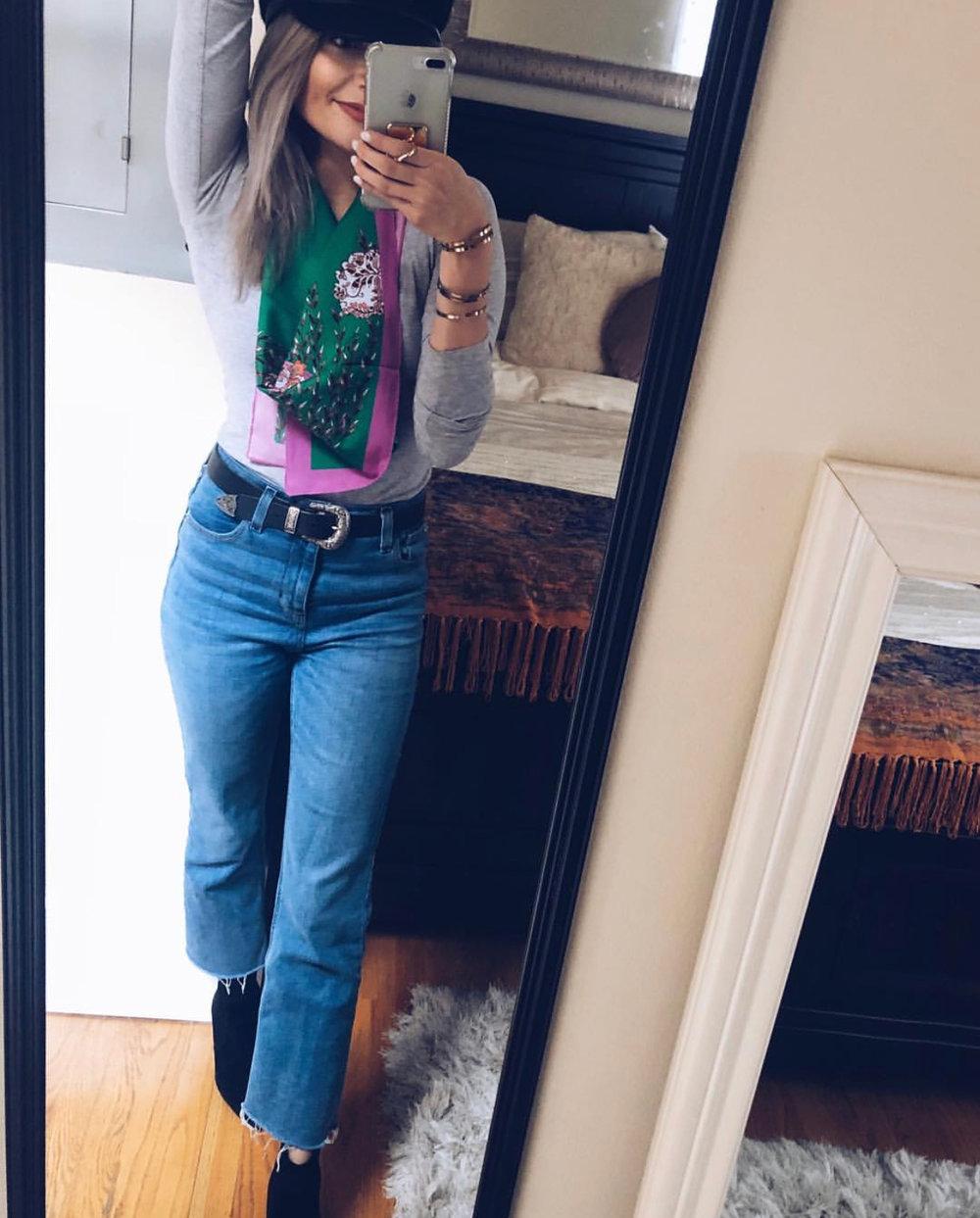 Recreate the Look: - Hat: BCBGScarf: Urban OutfittersShirt: H&MBelt: ASOSJeans: Urban Outfitters