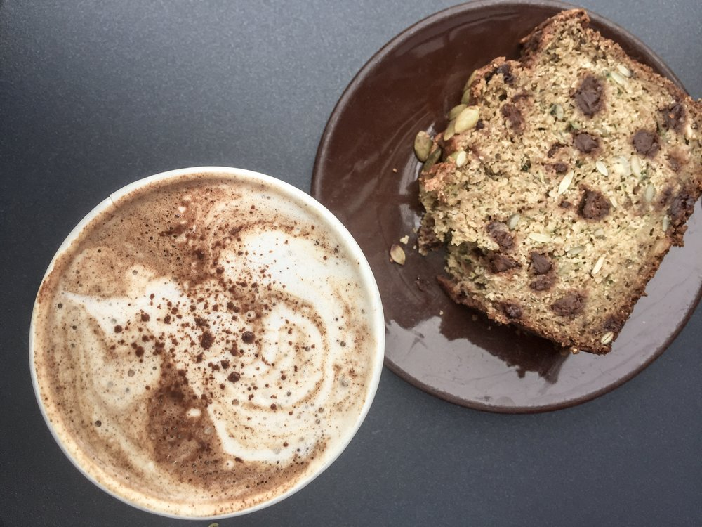 Chocolate chip zucchini bread and a mocha at Nourish Cafe
