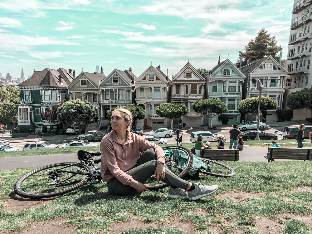 chillin' in front of the Painted Ladies (Full House house)