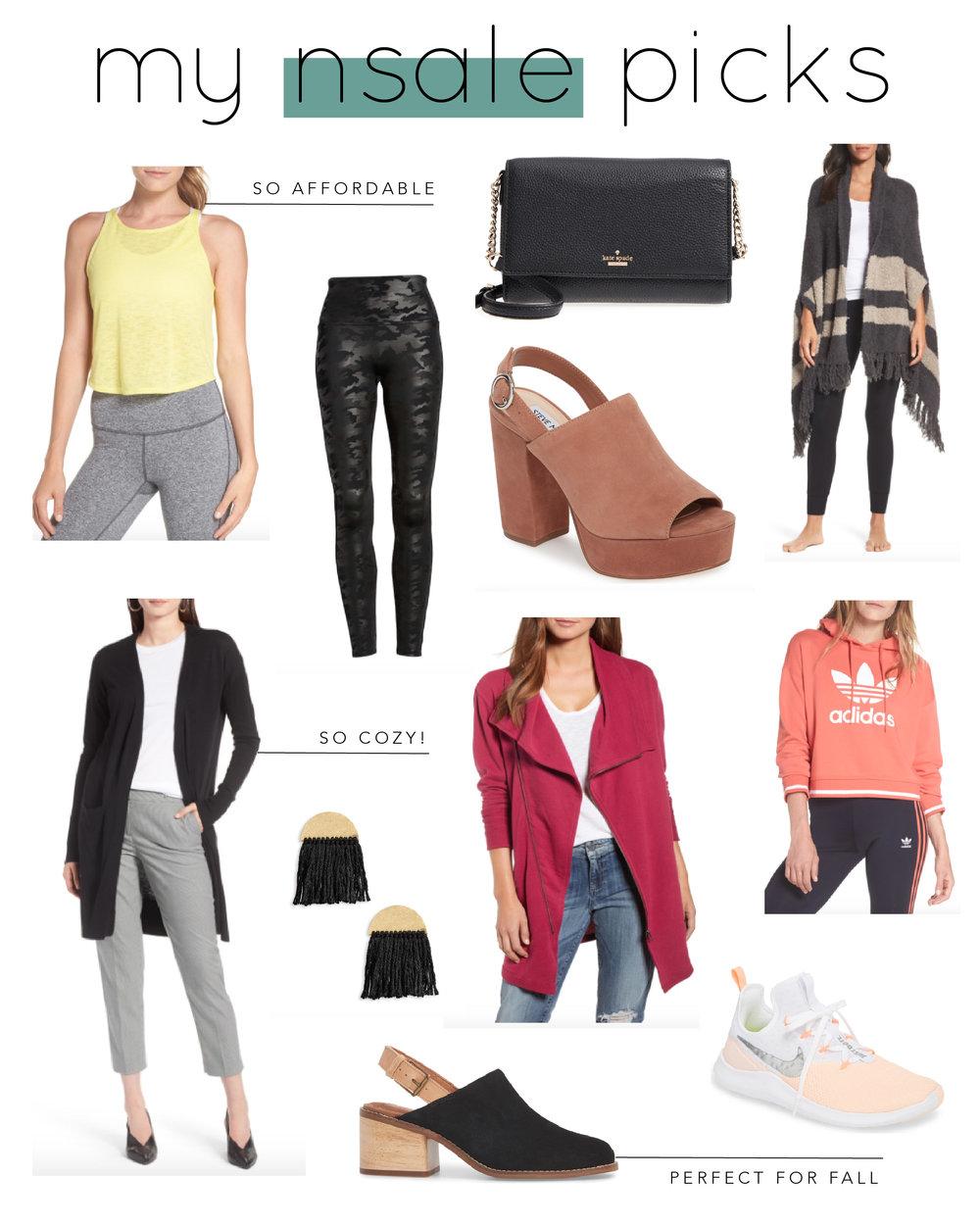 Neon workout tank  |  Camo faux leather leggings  |  Cross body bag  |  striped wrap  |  slingback platforms  |  long pocket cardi  |  fringe earrings  |  Drape collar jacket  |  cropped hoodie  |  Nike Sneakers  |  Slingback Mules