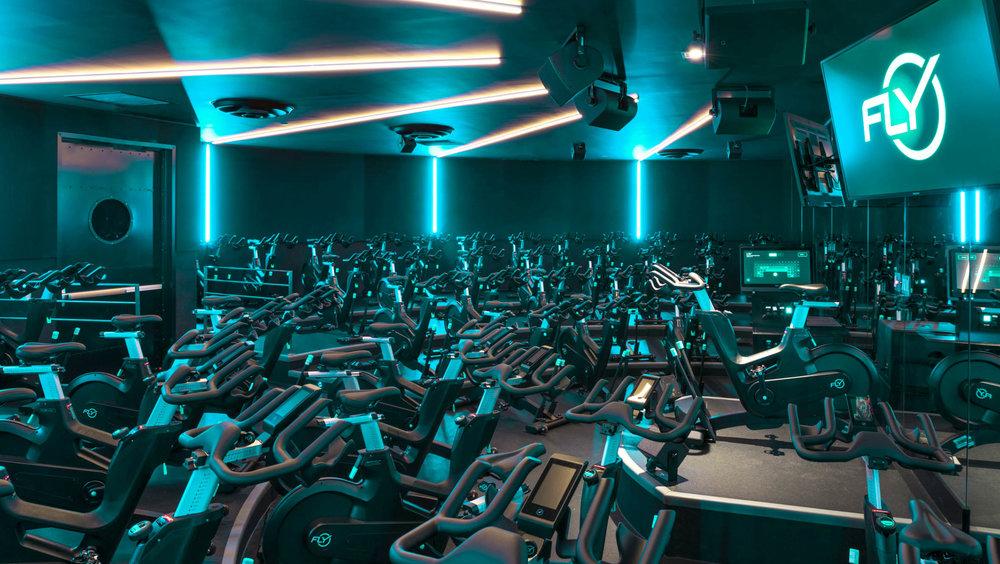 The cycling studio feels more like a night club