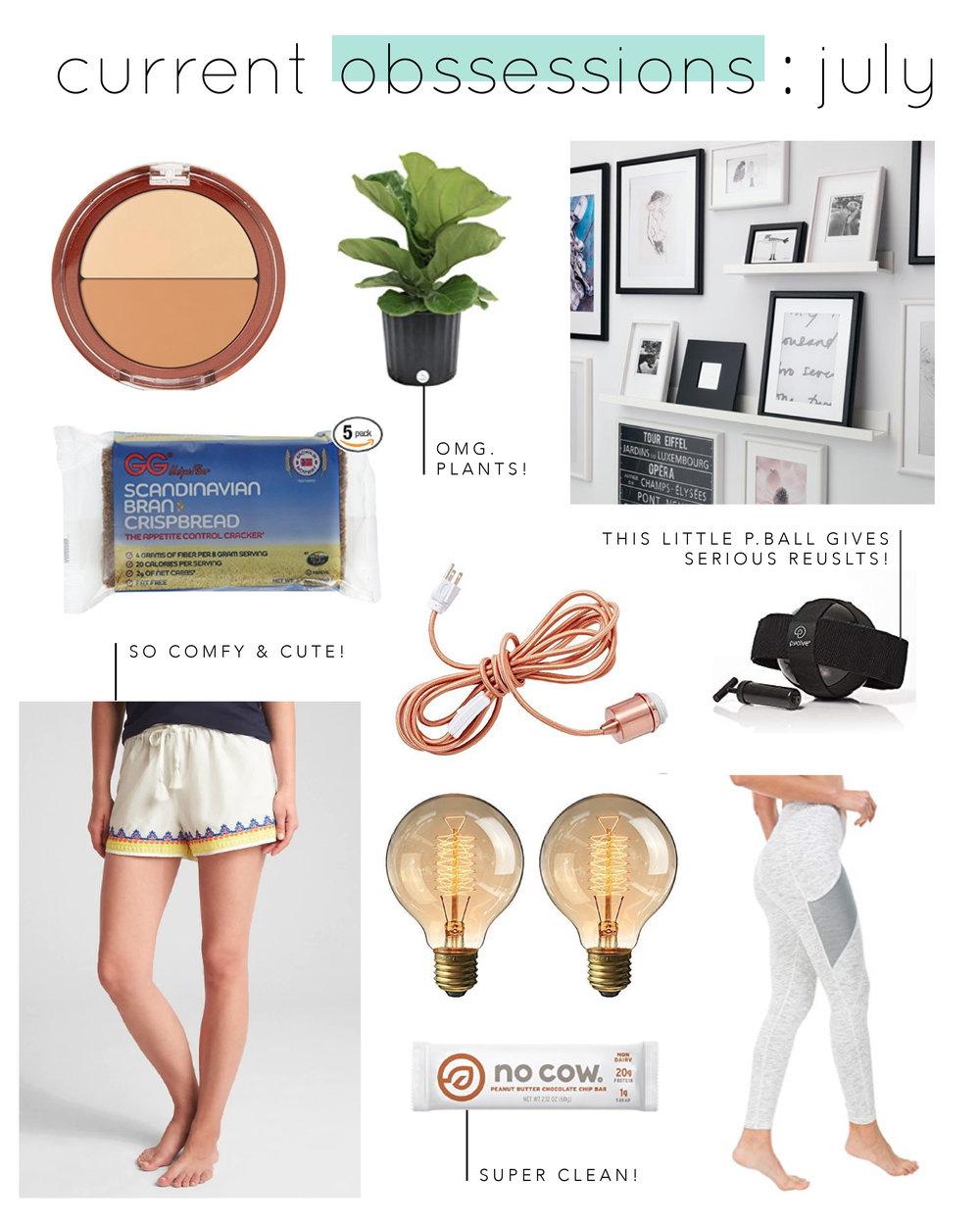 Concealer  |  Plant  |  Shelves  |  Lounge Shorts  |  Light fixture  |  Bulbs  |  No Cow Bar  |  P.Ball  |  Leggings