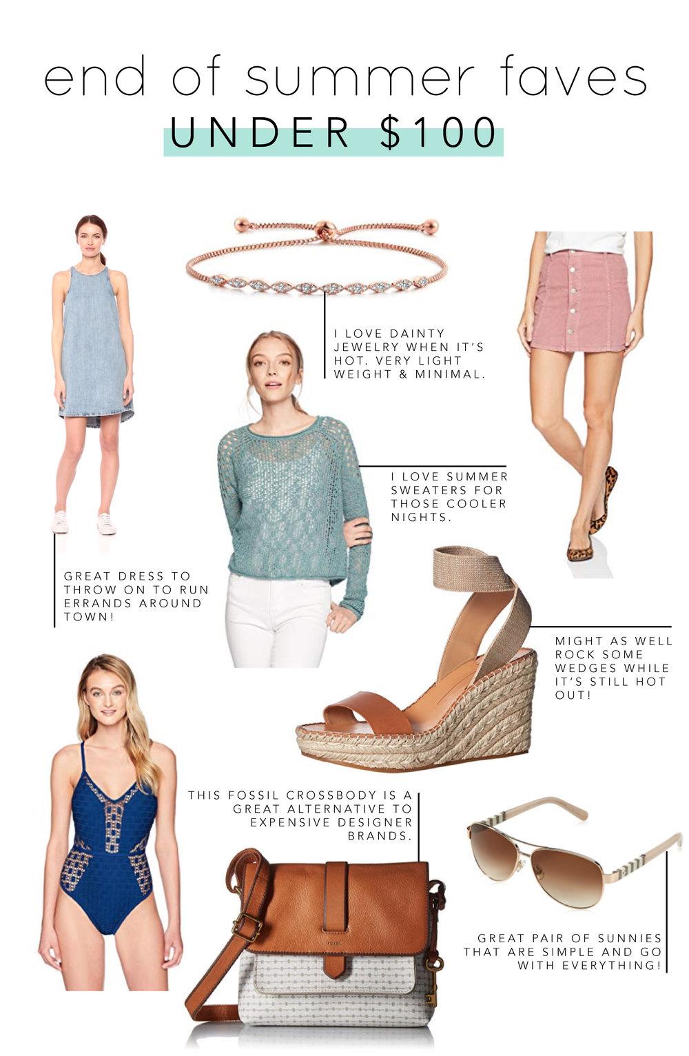 Denim Dress  |  Dainty Bracelet  |  Pink Button Skirt  |  Summer Sweater  |  Wedges  |  Lace Swim Suit  |  Cross Body Bag  |  Aviator Sunglasses