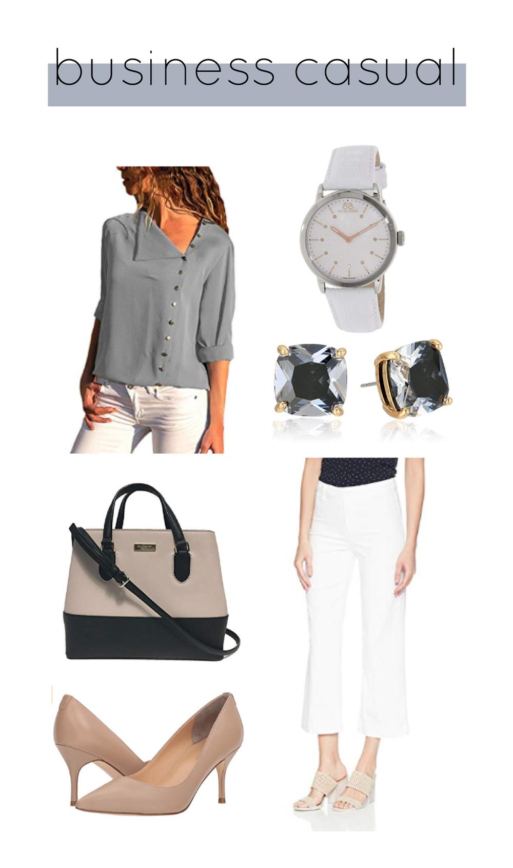 Outfit Details:  Paige Culotte Pants     Jeazi Button Blouse     Kate Spade   Satchel     Ivanka Trump Pumps     Kate Spade Earrings     White Leather Watch