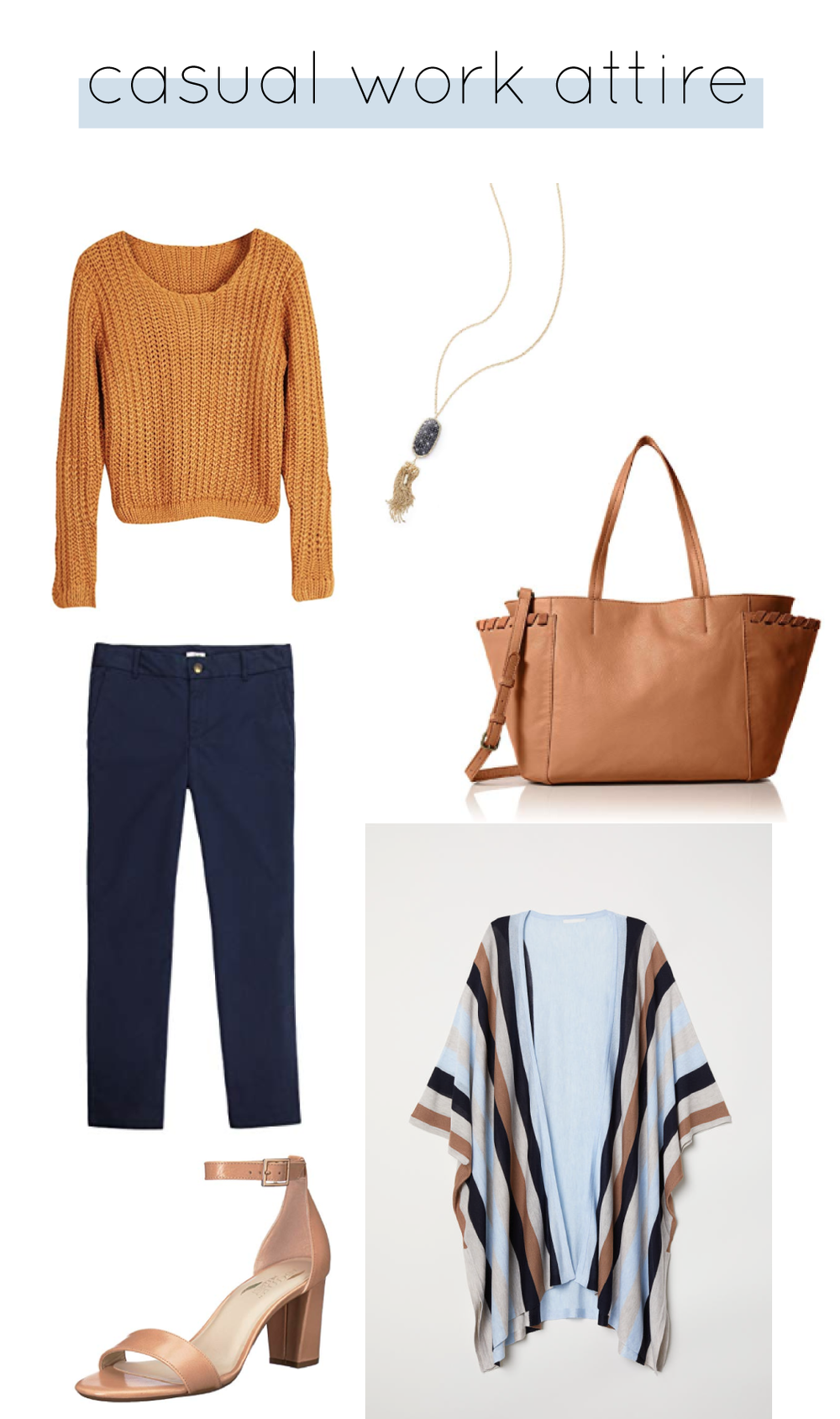Outfit Details:  J.Crew Chino Pant  |  Aphratti Sweater  |  H&M Striped Cardigan  |  Aerosoles Heels  |  Lucky Brand Tote  |  Kendra Scott Necklace
