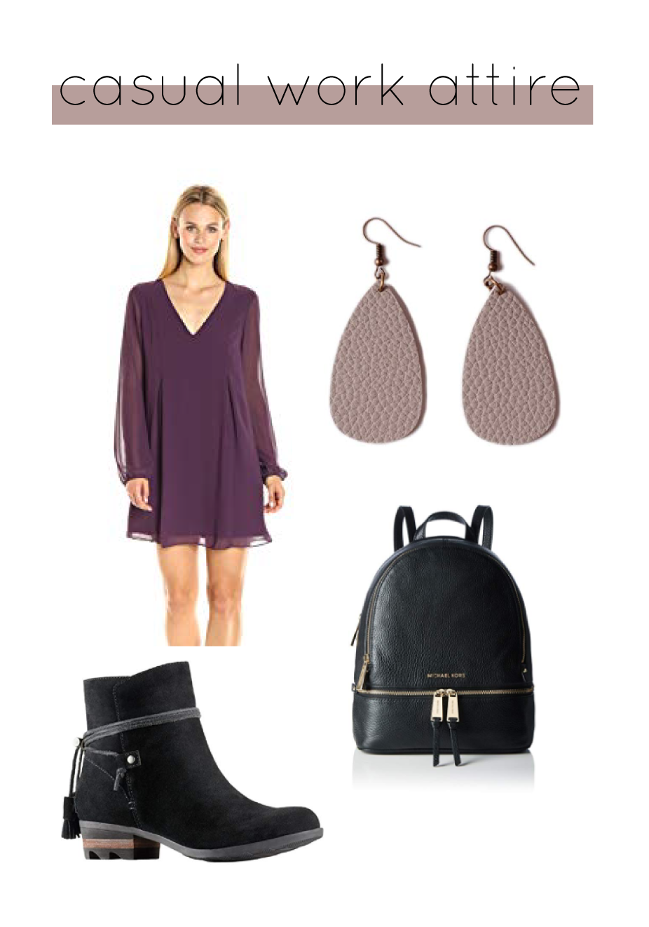 Outfit Details:  BCBG Dress  |  Sorel Booties  |  Michael Kors Backpack  |  L&N Rainbery Earrings