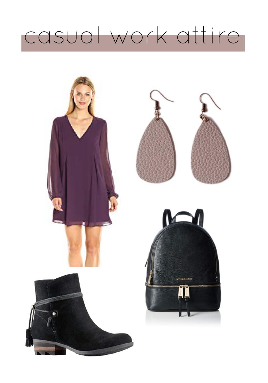 Outfit Details:  BCBG Dress     Sorel Booties     Michael Kors Backpack     L&N Rainbery Earrings