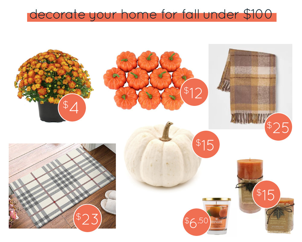 Mums  |  Plaid Door Mat  |  Mini Pumpkins  |  Plaid Throw Blanket  |  Huge Ghost Pumpkin  |  Fall Candles  |  Glass Pumpkin Candle
