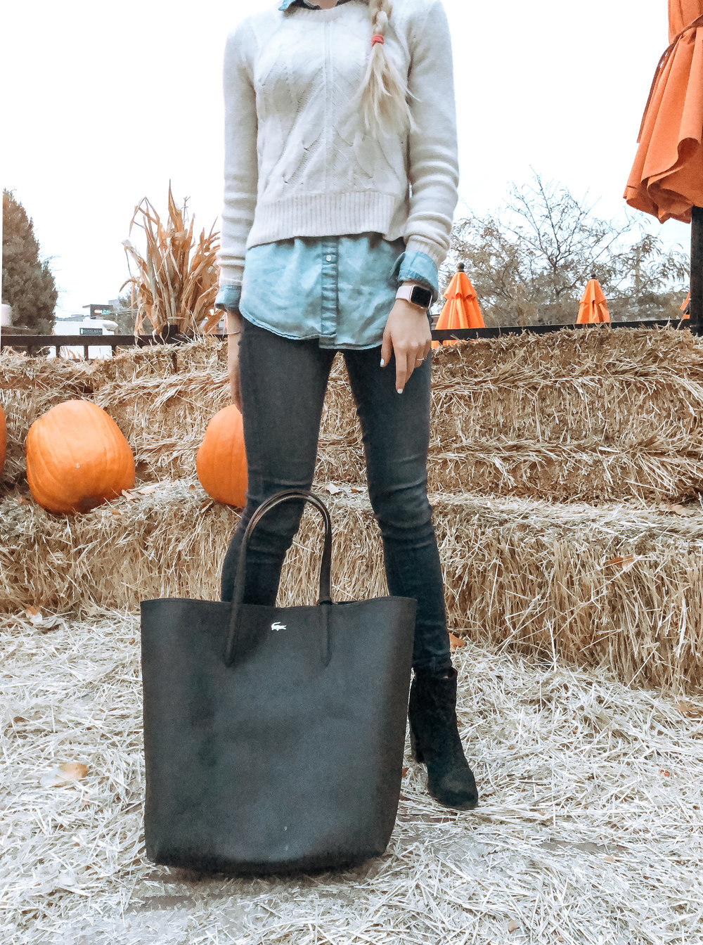 outfit details:  chambray blouse  | cropped sweater ( similar ) |  jeans  |  tote bag  |  booties