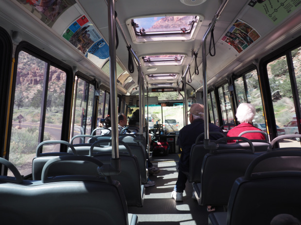 Aboard one of the shuttles through the park