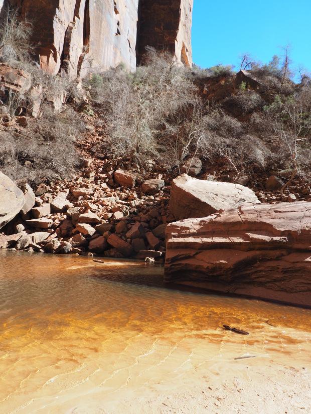 Orange water at Upper Emerald Pool