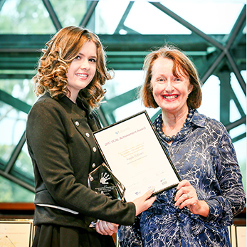Kayla O'Brien with Parliamentary Secretary for Education Judith Graley