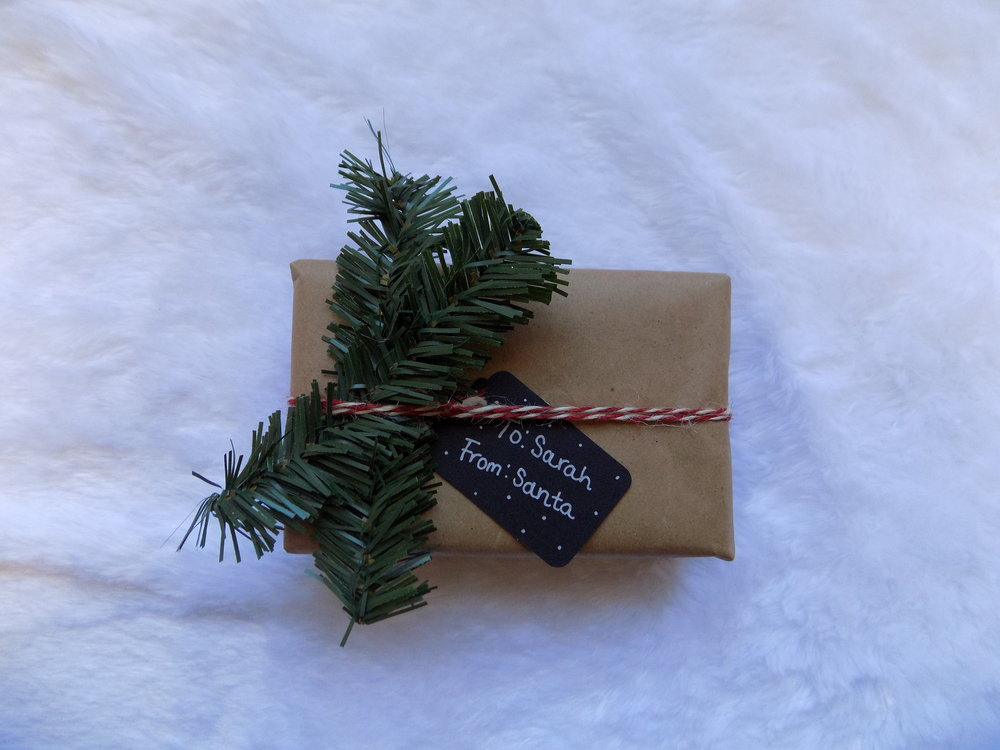 DIY 1:  Cut a few branches off your fake tree or the trimming around your house for a lively touch. I secured it with some Christmas-themed twine and added a small craft tag. This decoration takes limited time and money, while elevating your thoughtful gift to superb!