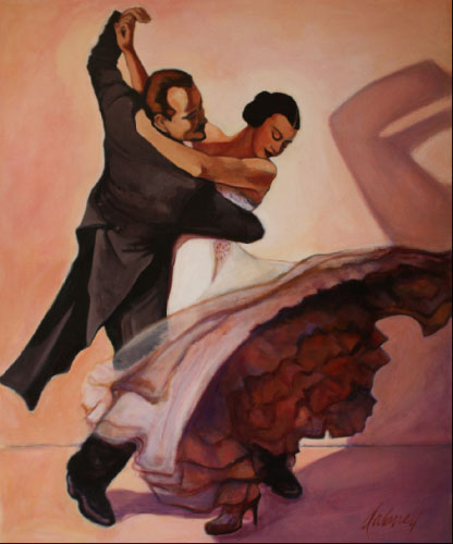 "STRICTLY BALLROOM  ACRYLIC 39"" x 48"" $2200"