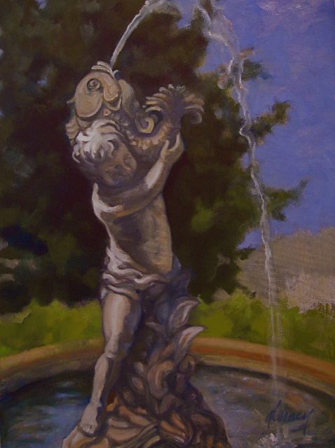BOY WITH FISH FOUNTAIN  OIL   SOLD