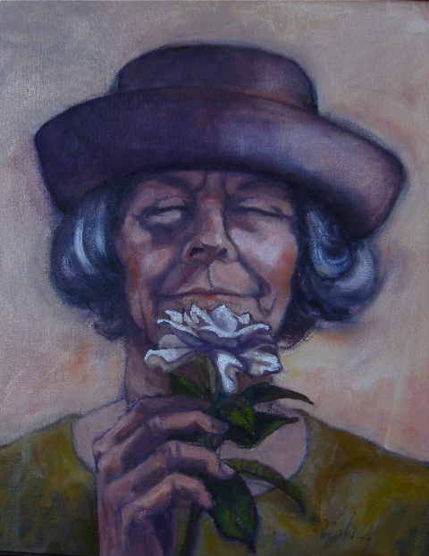 STOP TO SMELL THE ROSES  OIL  PICKENS MUSEUM PURCHASE