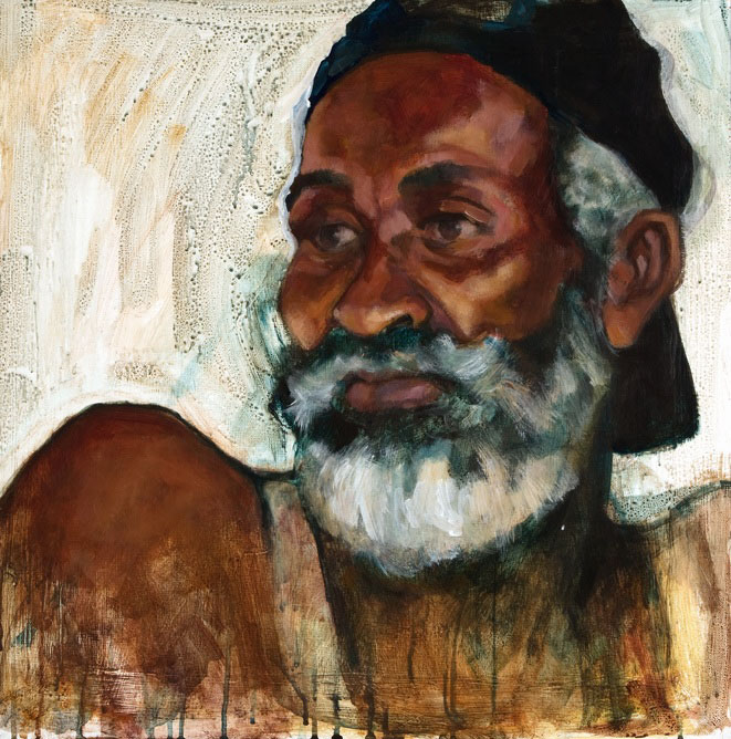 "MAN WITH WHITE BEARD  ACRYLIC 24"" x 24"" $750"