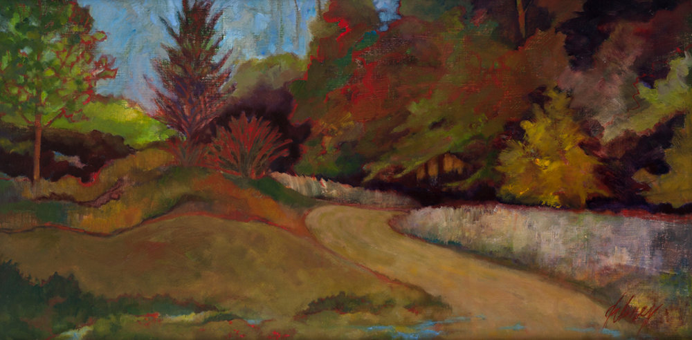 "INTO THE WOODS  OIL 24"" x 48"" $1500"