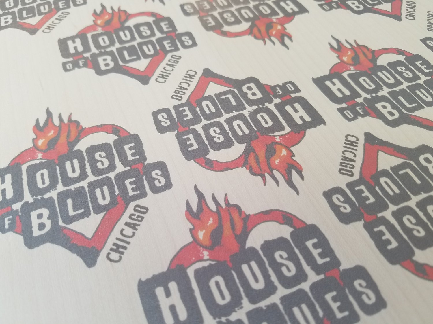 House of blues custom wood stickers available in their gear shops nationwide made in