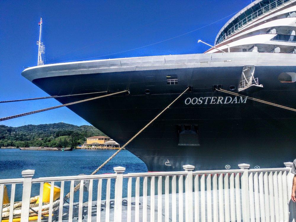 Holland America Line's Oosterdam, docked in Mahogany Bay (Roatan), Honduras
