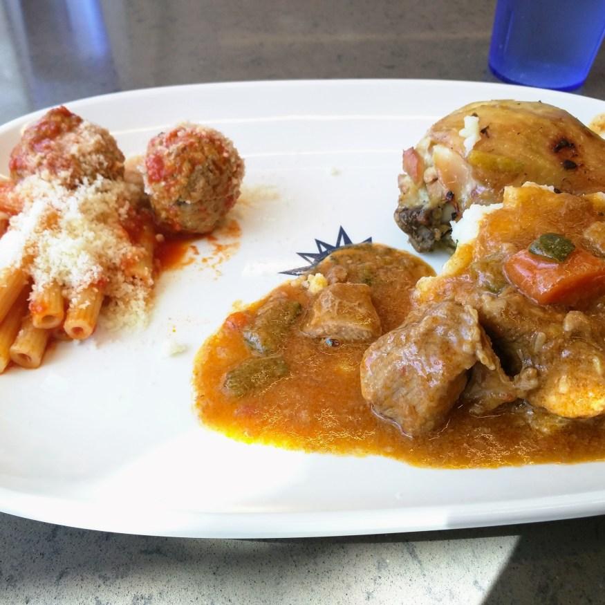 Ziti with Meatballs, Rotisserie Chicken, & Beef Stew