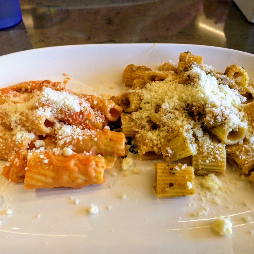 Rigatoni with Vegetable Sauce and with Pink Sauce