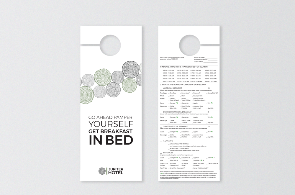 Door hanger with room service breakfast menu
