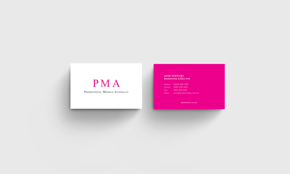 business card design for modelling agency