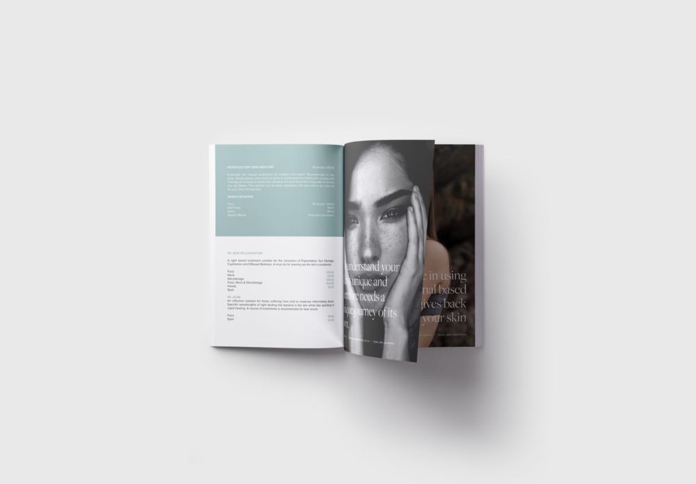 Skin clinic catalogue design