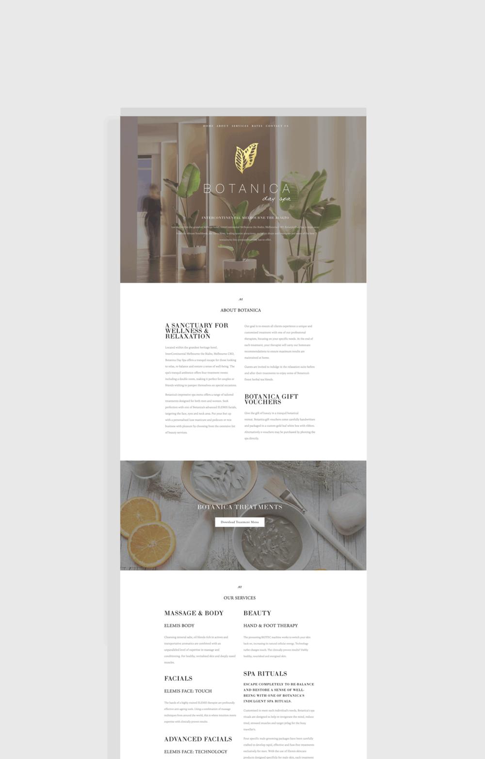 day spa website design