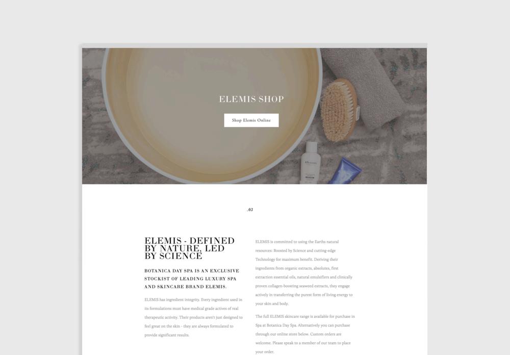 e-commerce website design for day spa