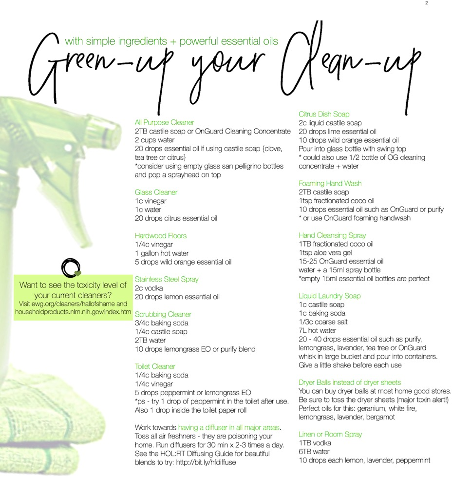 green cleaning DIY recipes