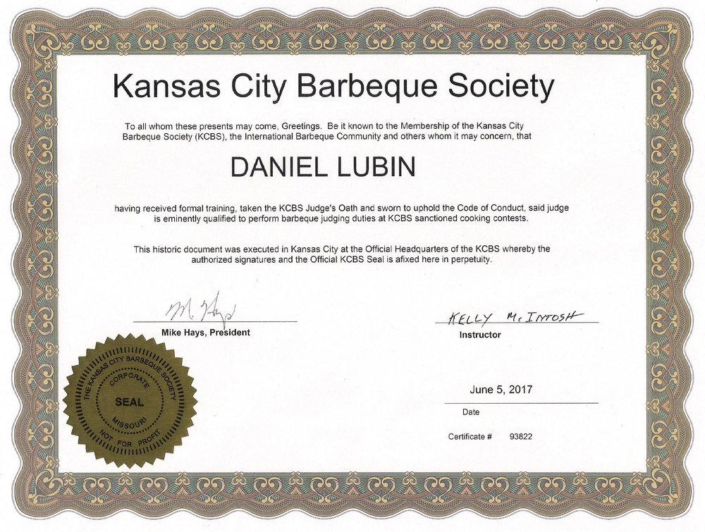 Daniel Lubin - KCBS Certified BBQ Judge Certificate.jpg