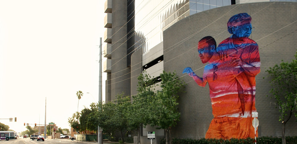 Generations - Medium: Mural – SpraypaintSize: 25feet x 53feetYear: 2013Location: Phoenix, ArizonaCollaboration As: JBAK