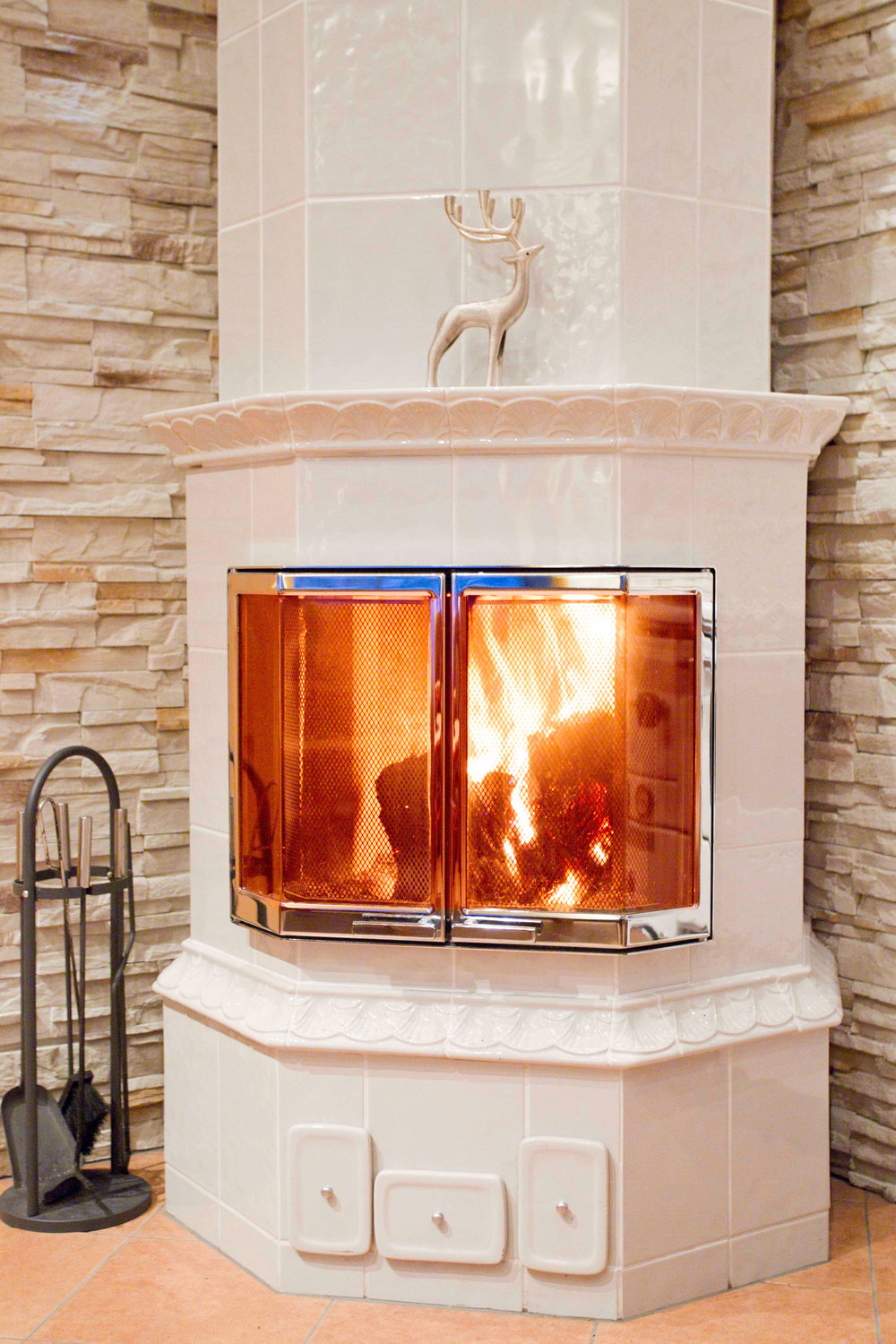 anitique tile fire place
