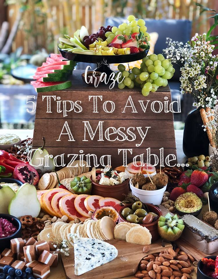 However, Grazing tables take time,  ALOT  of time, and require a special eye to see what does and doesn't work, SO, to avoid you to spending hours building your beautiful grazing table, only to step back and see a chaotic mess as opposed to an elegant and unique delicious piece of  art  you had originally imagined. Here are our top tips to avoid a messy Grazing Table:   1.     Organised Chaos is the Key.   It's easy to use your 'space-fillers', i.e: your pretzels, dried fruit or crackers to fill the spaces on your table with zero organisation. Avoid sprinkling your space fillers through gaps. Take a spoonful of your chosen space filler and place it carefully in piles, remove any broken crackers or pretzels and then pile a few more on top of the original spoonful to create a soft pyramid of food. Remember, you need to create gaps in your grazing table with purpose, when placing the food, remember to be purposeful with the spaces left for later.  Think of your table as a delicious game of Tetris.    2.     Colour and Texture.   The most important thing on a table is the taste, obviously. The second you ask? The  colours  and  textures ! It is so easy to overcrowd your table with bland colours, once you've got all your breads, crackers, breadsticks, cheeses, olives, pretzels, chocolate, nuts, humous and so forth, you've got one very brown, yellow and white bland looking table. Think about this when buying your food! Get bright fruits and vegetables, both fresh and dried, coloured crackers, the brightest dips you can find, lollies (if it suits your table style). Get inventive! Use the bright colours to break up the bland colours. Without the bright colours, all your guests see is a table full of the same food, it all blends in to one, mouth don't water and nothing  pops .   3.     Height and Platters.   Height! Can I just say this again, as  loudly  as possible? USE HEIGHT! Grazing tables were originally inspired to be a modern version of a medieval feasting table. Essentially, back then, the food would be layered on beautiful platters and stands, in bowls, and on unique plates with gorgeous goblets scattered around. These feasts were to show off incredible richness. They used food to fill the gaps on the table, but there were layers upon layers of height. Be aware, there is such a thing as too much height, use your discretion, as soon as everything is elevated it stops being a Grazing table, but there is nothing worse than a flat layer of food with minimal character and nothing to draw the eye.   4.     Sweet and Salty   Sweet and Salty, taste amazing together but look messy mixed. If you are having a bit of everything with a desert and savoury table (our favourite), be wary of your placement and how you blend the two. Sure, bring some of your sweet treats to the salty side, or some of your salty tastes to the sweet, but remember, they are two different sections on your table! blend the two halves of your table with some sweet & salty treats, for example, pretzels, dried fruit or sweet cheeses.   5.     There is such a thing as too much.   Sorry, but it's true. Don't use  everything  your heart desires! Be purposeful with your food choices and make sure they compliment each other. It's easy to go crazy and get 10 different space-fillers and every lolly, fruit, dip and cracker your heart can find, but remember, the flavours need to compliment each other and the colours need to pop. Too much colour is as bad as not enough colour. Food that doesn't compliment each other, becomes wasted.  In a country where we can afford to create extravagant feasts let's not waste it!    6.     Bonus Grazing tip:   On the topic of wasted food, there's often lots left over from a Grazing table! If it's not going to get eaten, try blessing your local foodbank, homeless shelter or create a little hamper and gift it to the Salvation Army. End your event by being a blessing to others!  We hope that our 5 tips have been helpful for you! These simple tips are what have kept GrazeHouse creating beautiful edible art, and we are so glad we could give you some pointers too! Have fun creating your table and enjoy your event! We know your guests will!