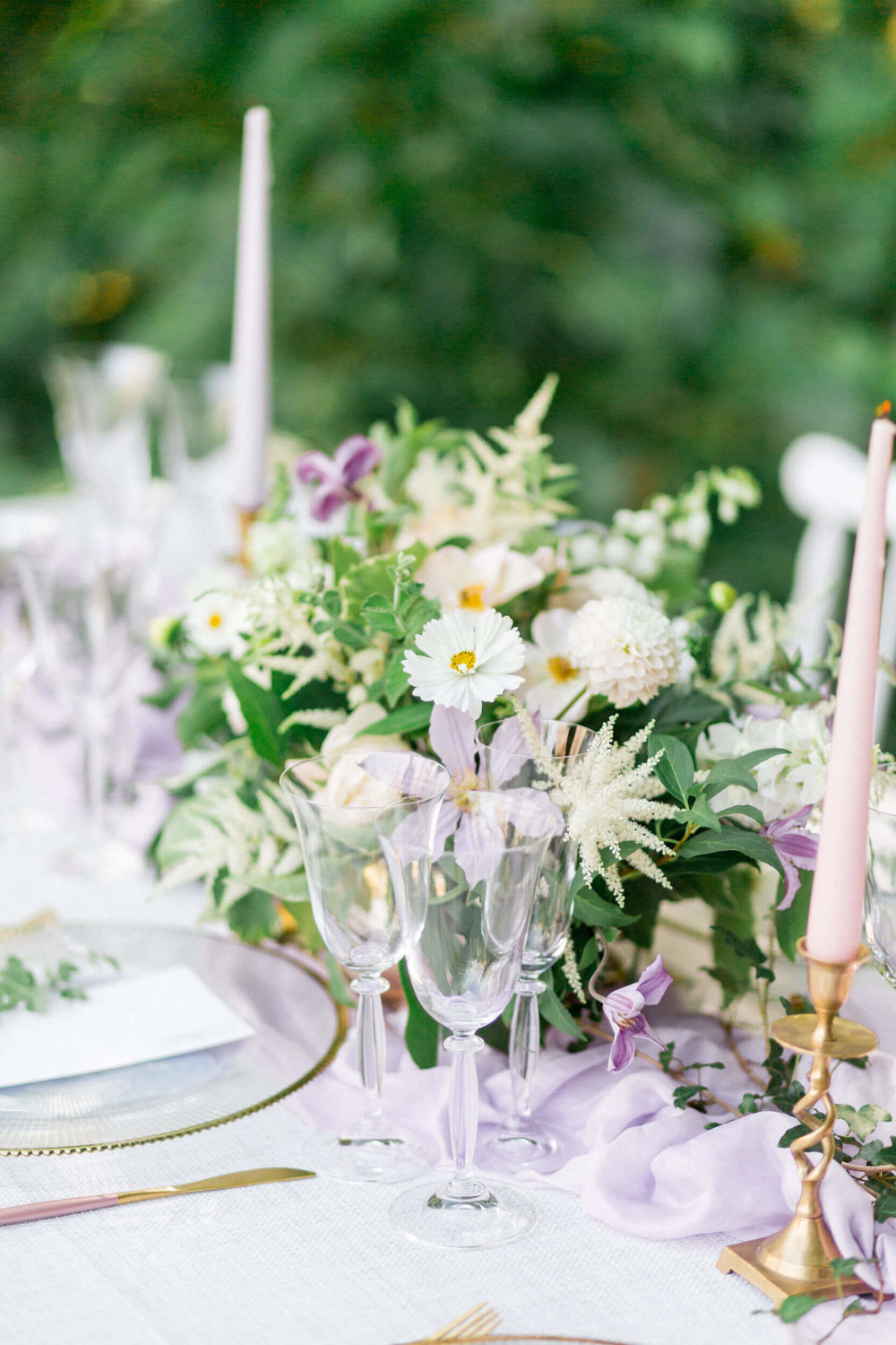 Table Centre - Lilac and Powder blue