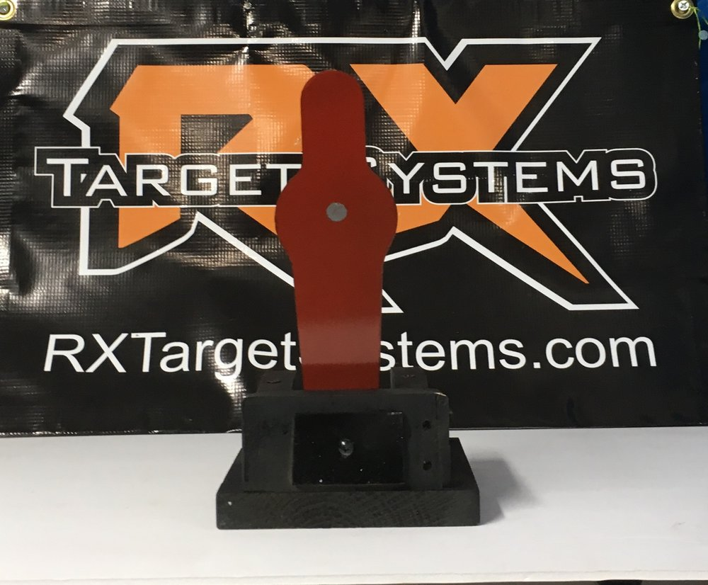 Rx Solo Silhouette, solid wood and powder coated steel. Colors available include burnt orange, red, black, yellow, and white. Shown here , 20 gauge steel silhouette, manual reset.