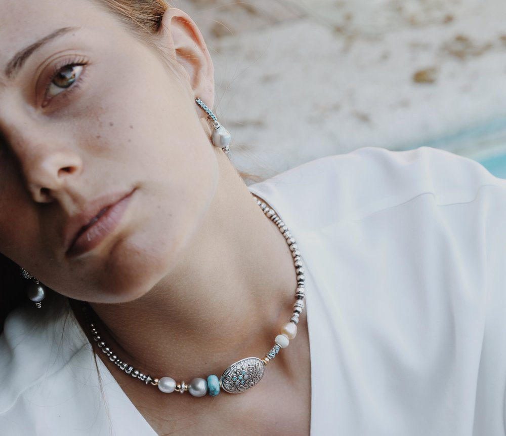 TURQUOISE - freshwater pearls, turquoise & sterling silver choker