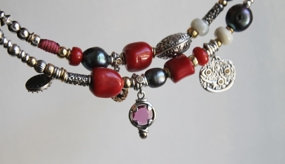 R O U G E - sterling silver, 18kt gold details & red coral