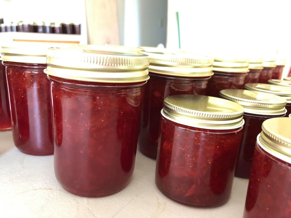 Freshly made Strawberry Rhubarb Jam.