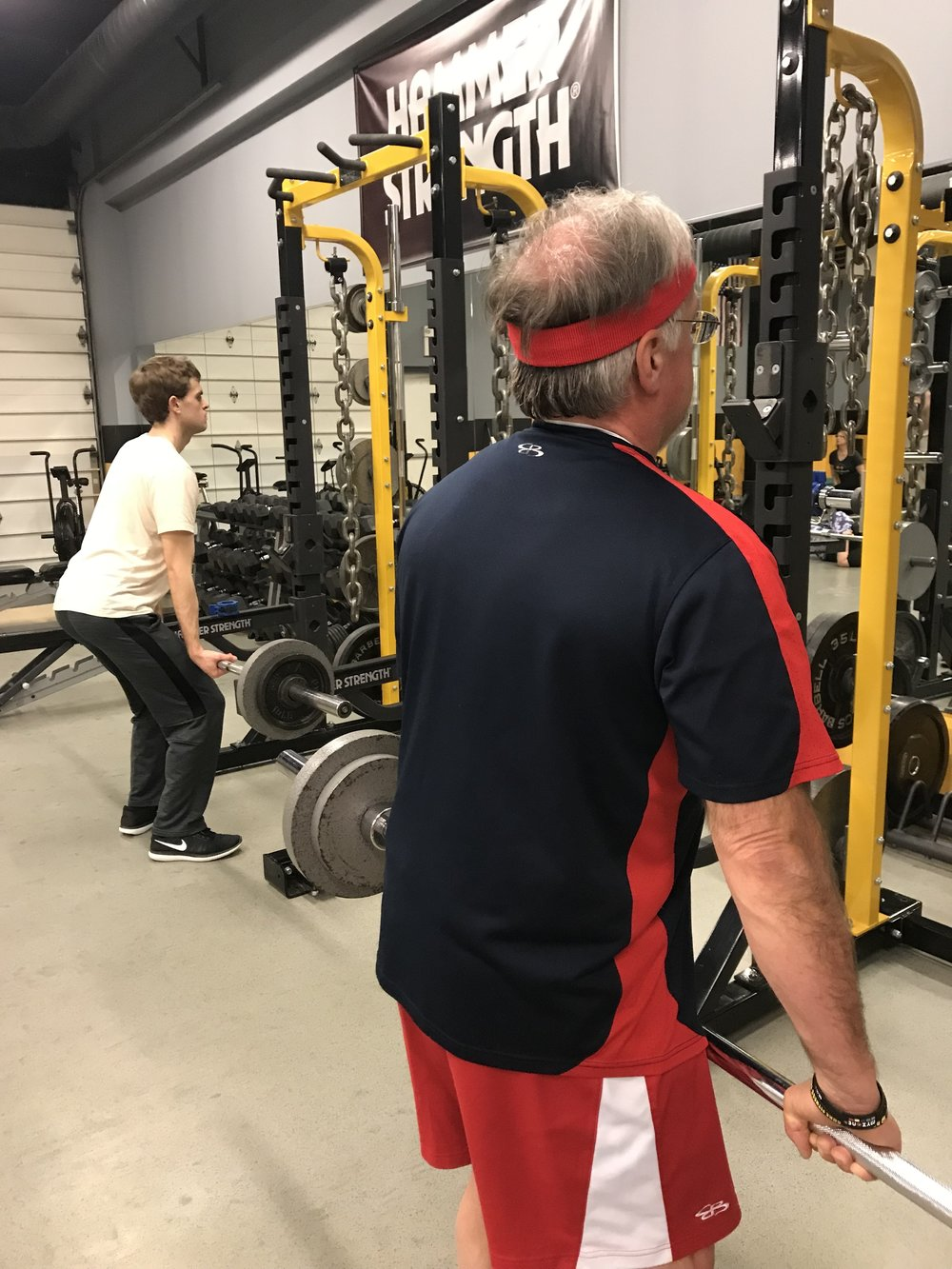 A couple of REAL people working out!