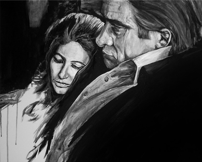 I want a love like Johnny & June  ~ Acrylic & India ink on 20x30 inch canvas   ORIGINAL SOLD.