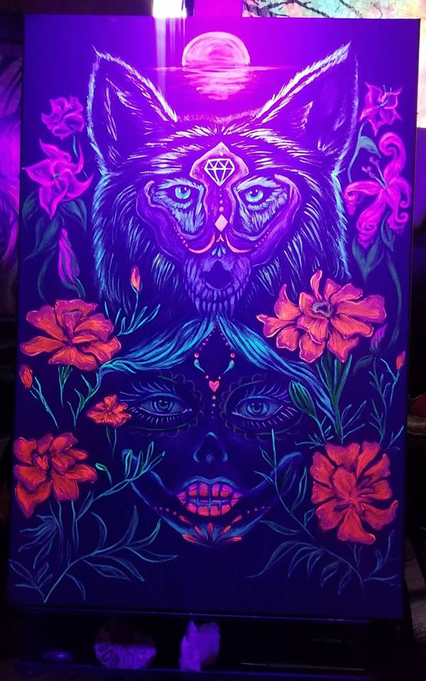 La Loba de los Muertos  - UV reactive acrylics on 2x3 foot black canvas. Live painted at Kenosha Creative Space Day of the Dead block party, 11/3/2018.   PRIVATE COLLECTION.