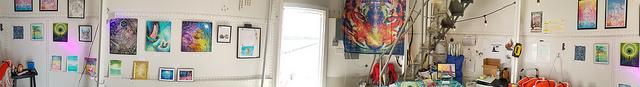 All set up:  a panorama of the gallery