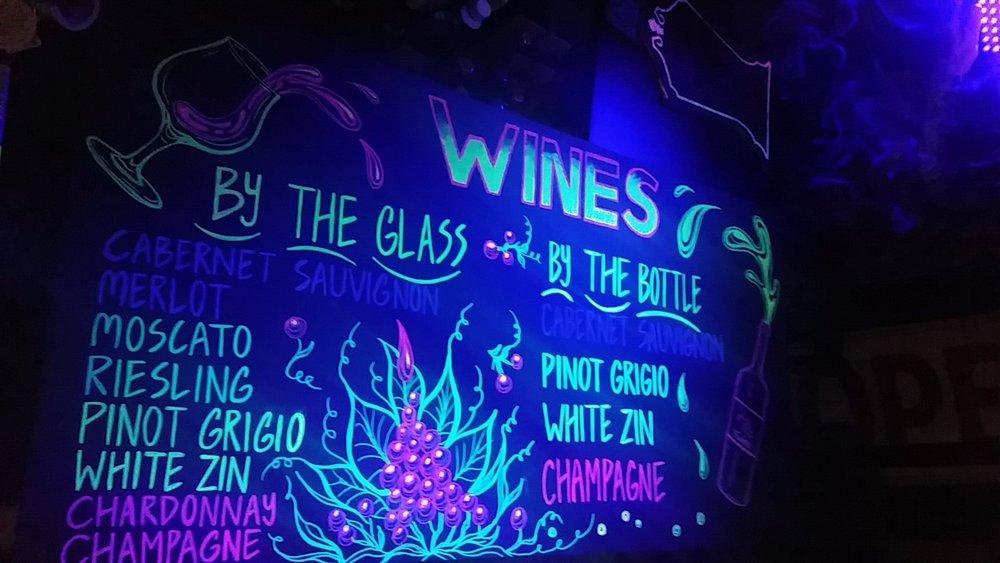 Wine menu at Kenosha Fusion