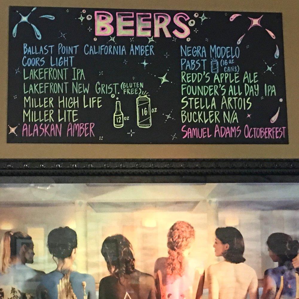 Beer menu at Kenosha Fusion
