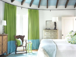 7. Curtains - Curtains are another awesome way to add texture, pattern, and of course, COLOR to a space! Spice up a bedroom with bright green curtains like the ones seen here!