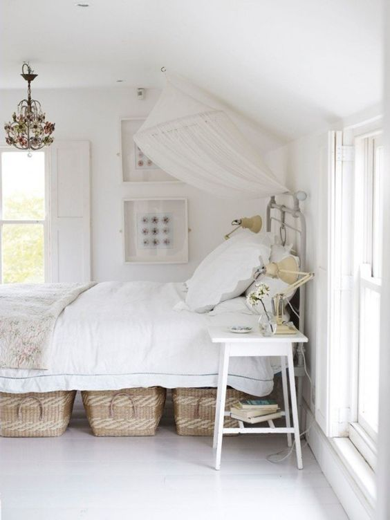 4. Under Bed Baskets - Don't want or need to buy a new bed? Simple solution: place cute baskets under your bed to conceal your storage and add to your decor!