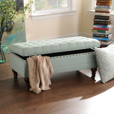 5. Storage Bench - Do you have space for a bench? If so, purchase one with built-in storage. This way, you'll be adding an accent piece to your space, while getting the extra storage you need!